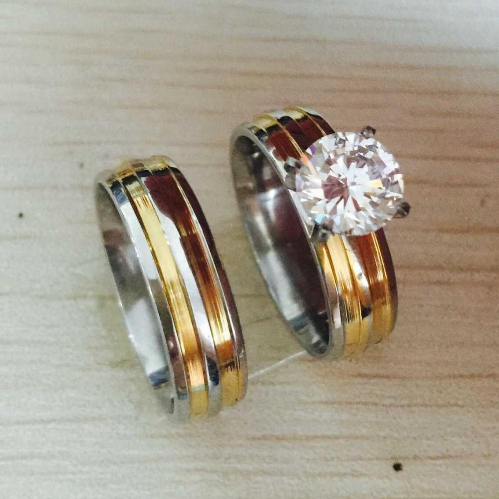 Gold Silver Color Large Cubic Zirconia 6mm 2 Couples Rings Set For