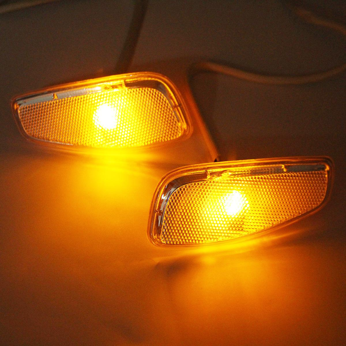2Pcs Amber LED Lights Side Light Marker Covers Lamps With Wire For ...