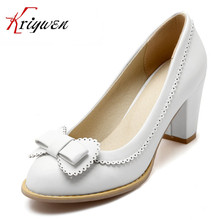 4 Colors Size 32-43 2016 Summer Shoes Sweet Princess Style bowtie Women thick High Heel Pumps Girl PU New Arrival Lolita Shoes