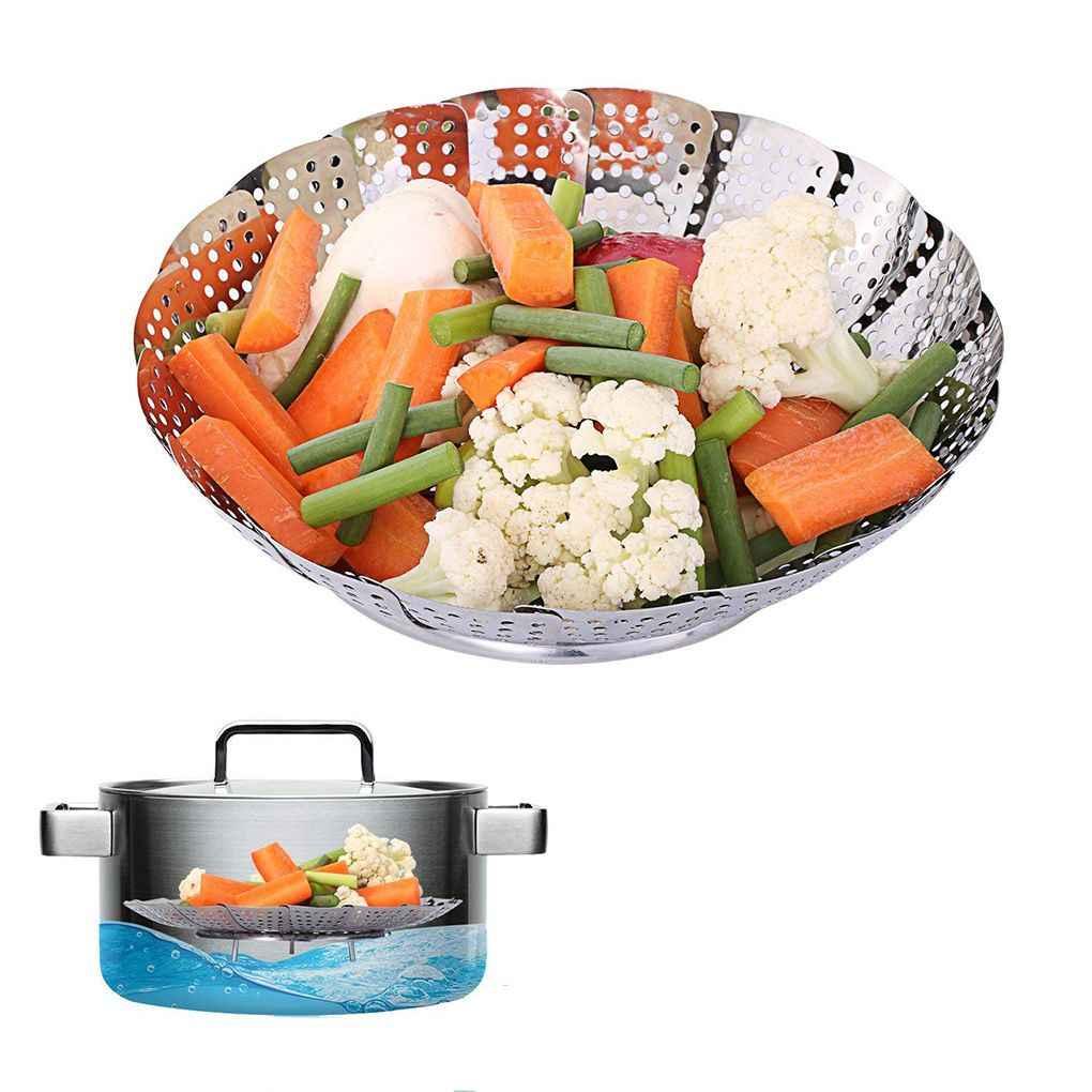 Venda quente Dobrável de Aço Inoxidável Vapor Rack de Vapor de Alimentos Multifuncional Dobrável Cesta De Frutas Vegetal