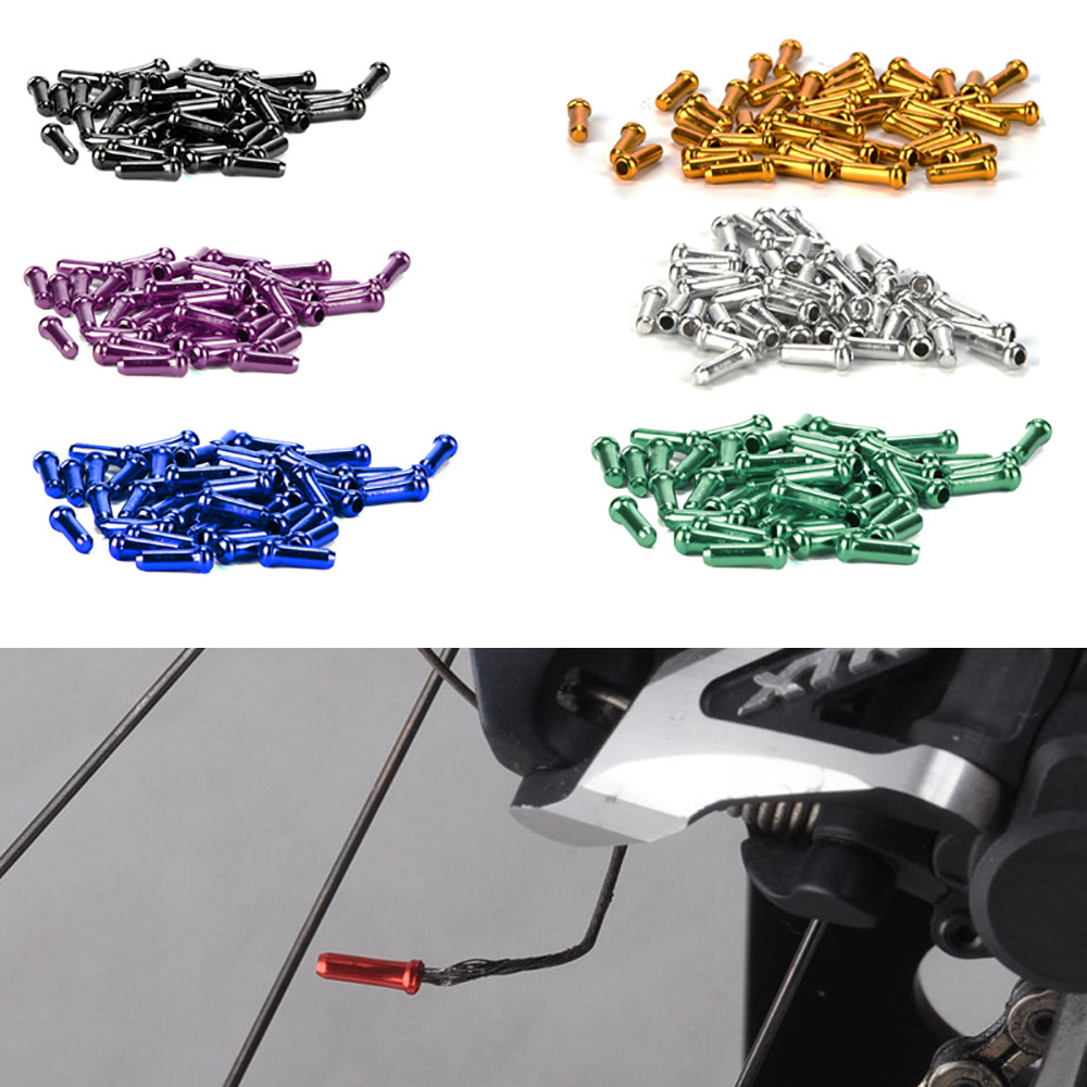 Aluminum Bike Brake Cable Tips Cycling Derailleur Shift Cable End Caps Colorful