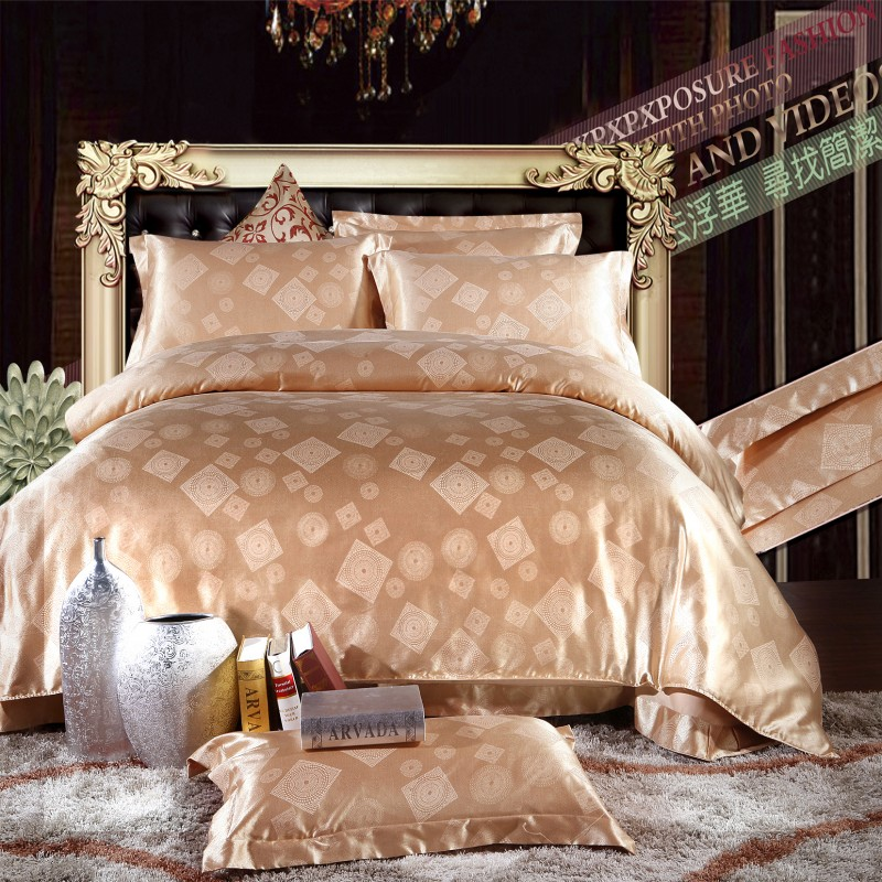 Luxury tencel jacquard Bedding Set 4pcs twin queen king size bed  sheet pillowcases  bed cover  duvet cover set without comforter. Bed Comforter Cover Promotion Shop for Promotional Bed Comforter