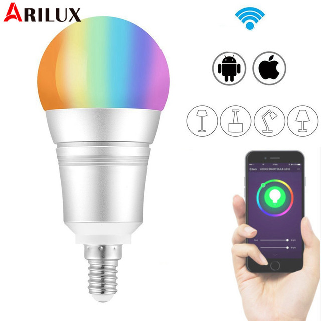 ARILUX E27 E14 B22 9W RGB+Warm White WIFI LED Smart Light Bulb 810LM Work with Alexa Voice Control AC110-255V