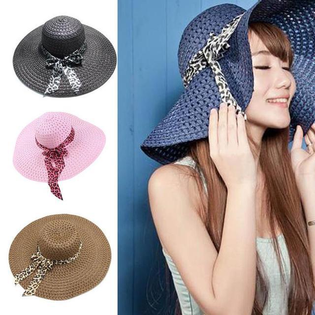 BTLIGE New Women Beach Hat Lady Derby Cap Wide Brim Floppy Fold Summer Bohemia Sun Straw Hat Dropshipping
