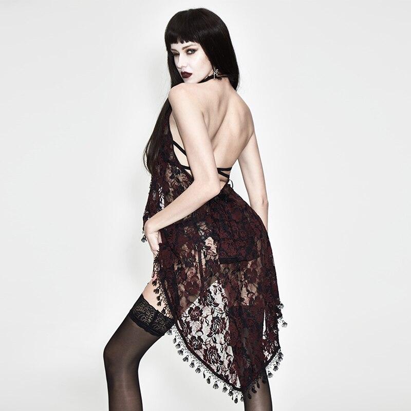 Eva Lady haut sexy pour les femmes gothique voir à travers licou T-shirt noir rouge dentelle gland été nouveaux accessoires tendance - 2