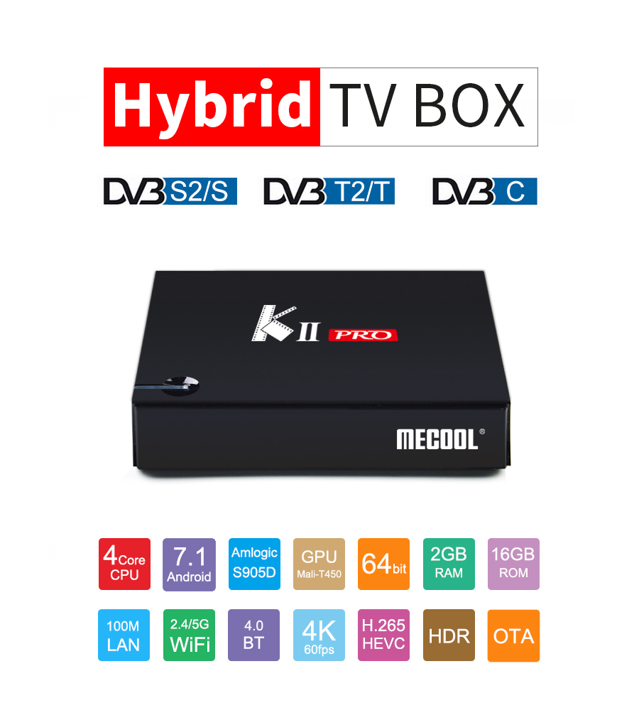 10pcs KII Pro 2GB/16GB DVB S2+T2 7.1 Android TV Box Amlogic S905D Quad-core Support DVB-S2/ DVB-T2 Smart Media Player k1 dvb s2 android 4 4 2 amlogic s805 quad core tv box