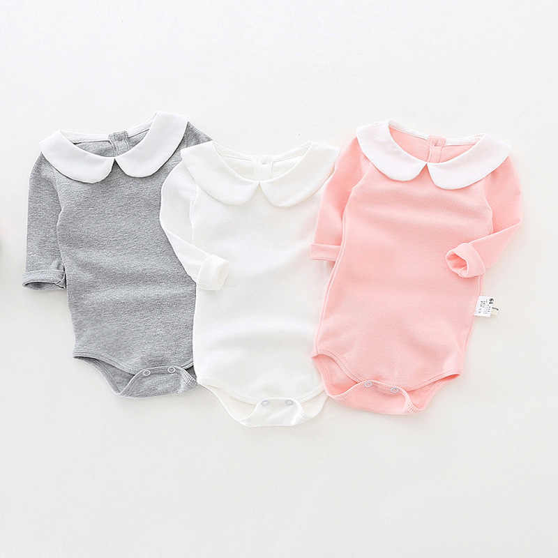 63ff656e42f6 Cute Newborn Baby Girl Clothing Long Sleeve Cotton Solid Baby Bodysuits  Peter Pan Collar Girls Jumpsuit