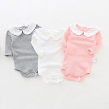 d1ee82359 Cute Newborn Baby Girl Clothing Long Sleeve Cotton Solid Baby Bodysuits Peter  Pan Collar Girls Jumpsuit