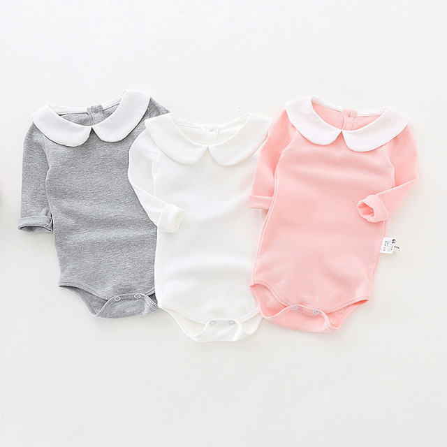 949433fbf Cute Newborn Baby Girl Clothing Long Sleeve Cotton Solid Baby Bodysuits  Peter Pan Collar Girls Jumpsuit Clothes Infant Costumes