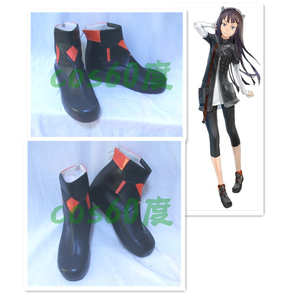 Guilty Crown TSUGUMI Black Cosplay Shoes S008