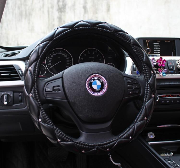 Diamond Pu Leather Car Steering Wheel Cover For Girls 38cm Car