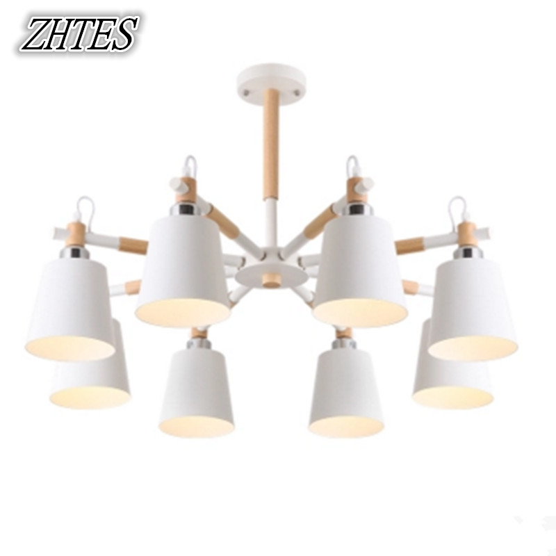 Nordic Modern Chandelier Lamp Living Room Bedroom Restaurant Wooden Iron Lighting 6 Lamps,8 Lamps цена и фото