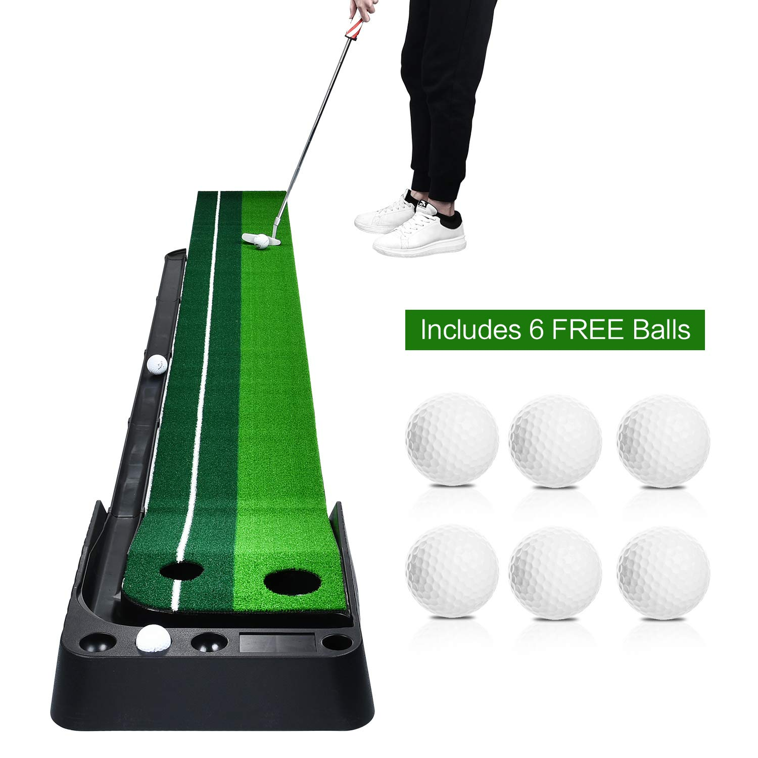 Champkey Indoor Golf Putting Green with 6 Golf Balls Portable Mat with Auto Ball Return Function