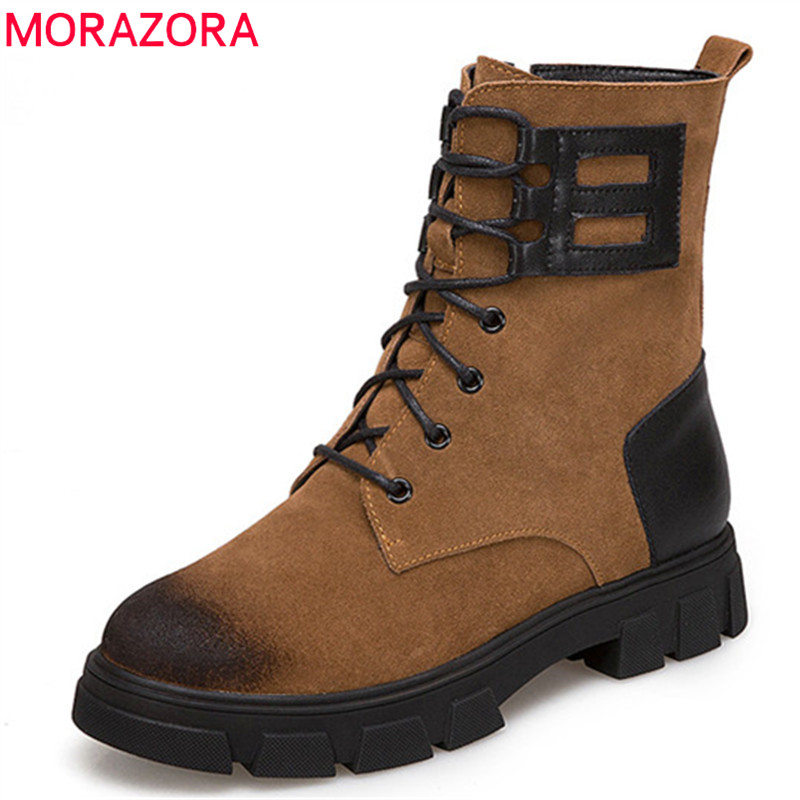 MORAZORA 2018 new style ankle boots for women suede leather autumn winter boots round toe lce up +zip Martin boots punk shoes 1 3 4 44mm 500sets plastic pin badge material blank button parts tin badge components