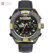 Shark Army Sport Watch Quartz Dual Display Man Buckle Hardlex Chronograph Alarm Leather Band Fit Any