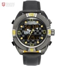 Shark Army Sport Watch Quartz Dual Display Man Buckle Hardlex Chronograph Alarm Leather Band Fit Any