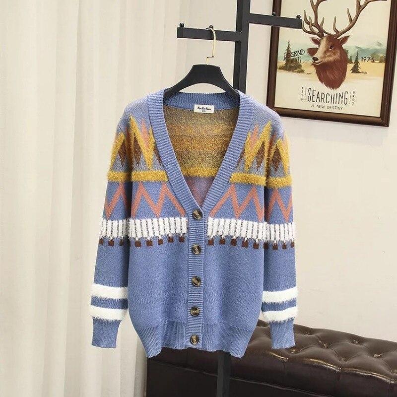 Patchwork Sweater my4 2018autumn Plus Size Clothing Blue Style Preppy Lady khaki Striped Warm Jacket Women Office Tops Ubetoku Knitted aAzYA