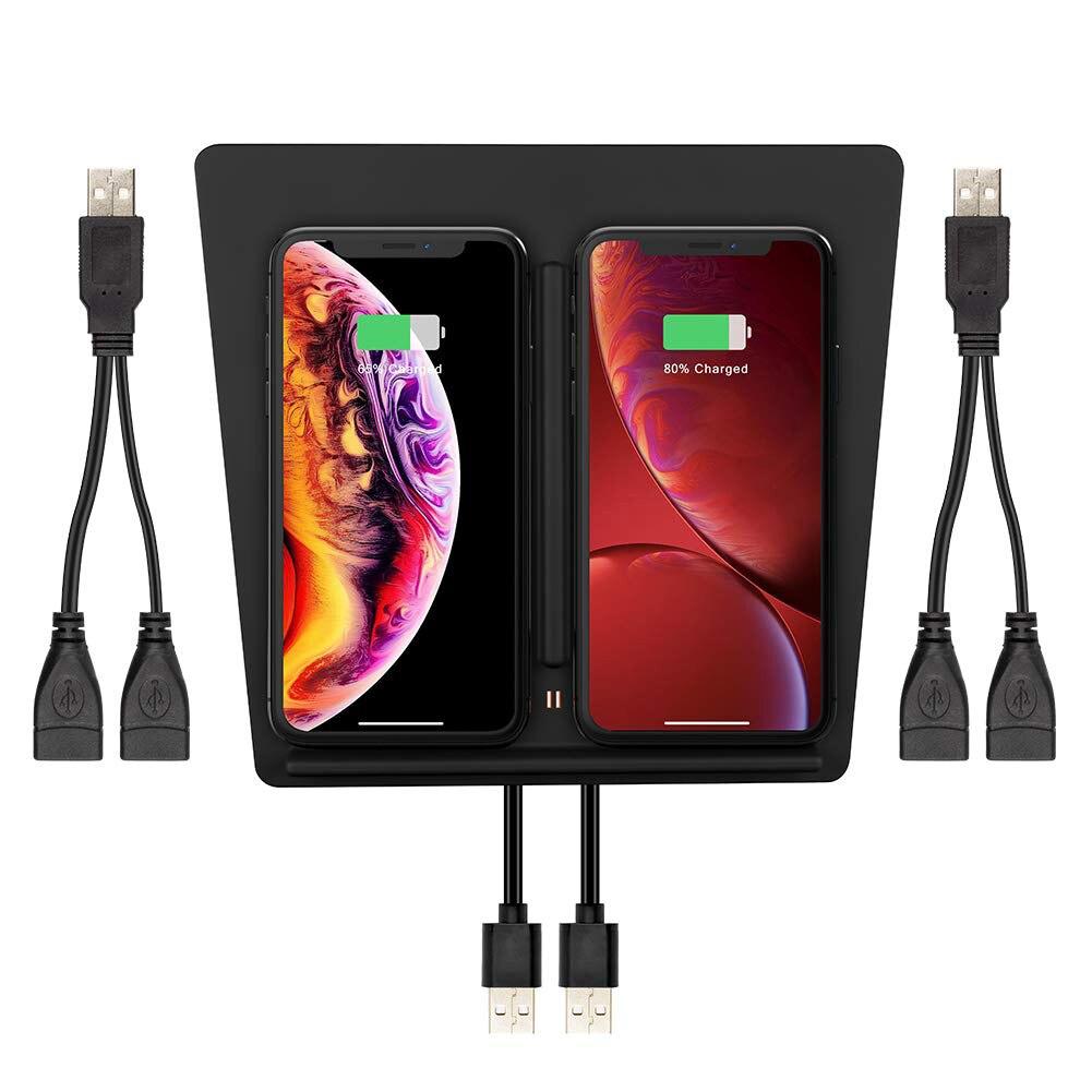 Double chargeur de téléphone sans fil pour Tesla modèle 3 pour iPhone X XR 8 Plus Console centrale de charge rapide intérieure améliorée pour Samsung