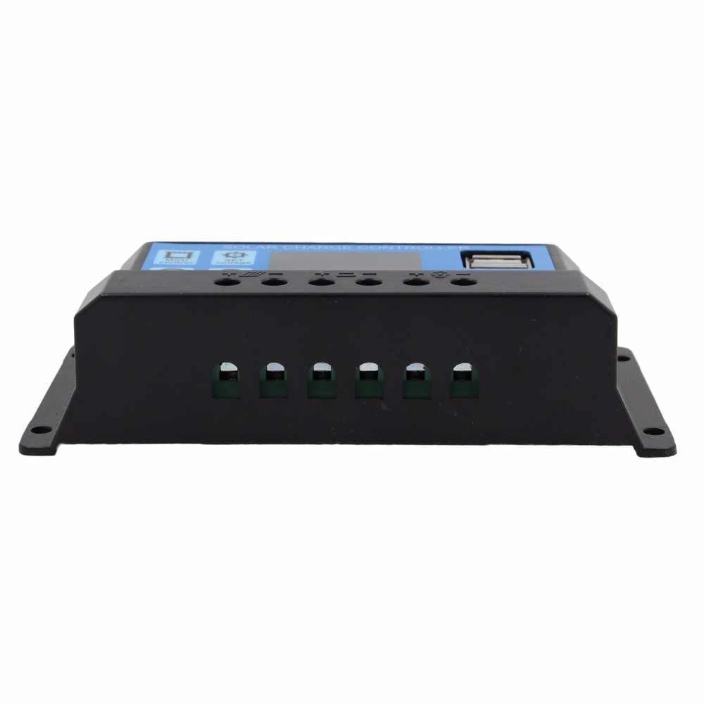 24V 12V panel solar automático controlador de carga de la batería 60A 50A 40A 30A 20A 10A LCD regulador de colector solar con Dual USB al por mayor