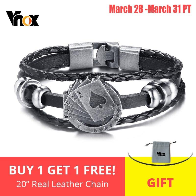 Vnox Chanceux Vintage Hommes Bracelet En Cuir de cartes à jouer Raja Vegas Charme Multicouche Tressé Femmes Pulseira Masculina 7.87″