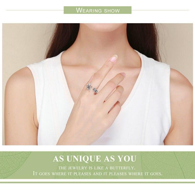 HTB1fTEIJ4SYBuNjSsphq6zGvVXaU BAMOER 100% 925 Sterling Silver Trendy Bee & Daisy Flower Finger Rings for Women Adjustable Size Valentine Gift Jewelry SCR422