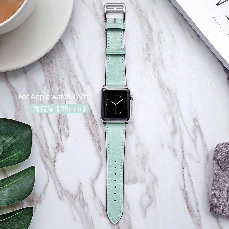 Date Cuir Véritable Montre de Courroie De bande Pour Apple Série de Bande De Montre 1 2 3 iwatch 38 42mm bracelets
