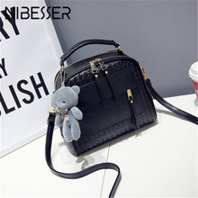 NIBESSER 2017 new Knitting Women Handbag Fashion Woven Shoulder Bags Small Female Crossbody Bag Retro Tote Bags Lady Bear Bolsas