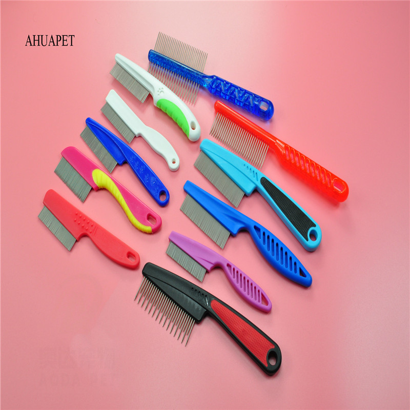 AHUAPET Cat Dog Grooming Supply Cat Dog Comb Stainless Steel Needle Remove Flea Cat Grooming Brush Comb Clean Tool Chihuahua E