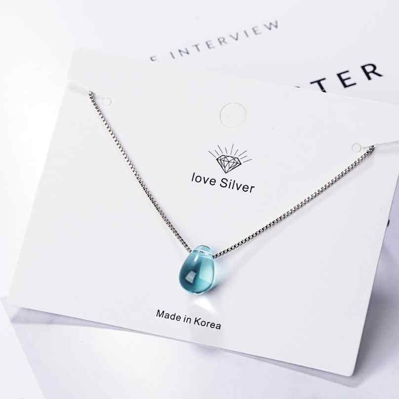 Literary Blue Crystal Water Drop Pendant Necklaces For Women Short Clavicle Chain Choker 925 Sterling Silver Jewelry Girl SAN39