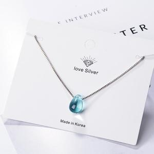 Literary Blue Crystal Water Drop Pendant Necklaces For Women Short Clavicle Chain Choker 925 Sterling Silver Jewelry Girl SAN39(China)
