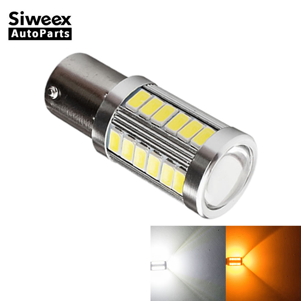 1X BAU15S PY21W 33 SMD 5730 Reverse LED Car Bulbs Side Marker Backup Lights Reverse Tail Turn Signal Lamp 12V DC White Yellow 2 rilliant red 7507 py21w canbus led replacement bulbs for bmw f30 f32 3 4 series rear turn signal lights or brake tail lights