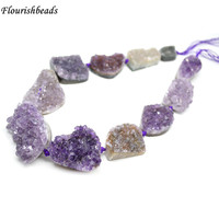 Natural Druzy Amethyst Quartz Irregular Big Size Freeform Stone Graduated Loose Beads Necklace Making Materials
