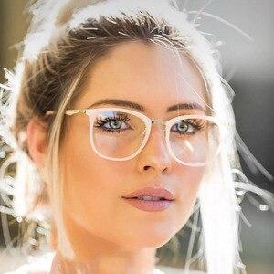 Image 1 - Vintage optik gözlük kadın çerçeve Oval Metal Unisex gözlük kadın gözlük óculos de gözlük reçete gözlük