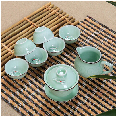 Chinese celadon fish tea cup set kungfu tea cups kit porcelain teacup ceramic embossed crafts high-grade teacups Free Shipping high quality chinese tieguanyin tea fresh natural carbon specaily tikuanyin oolong tea high cost effective tea 125g