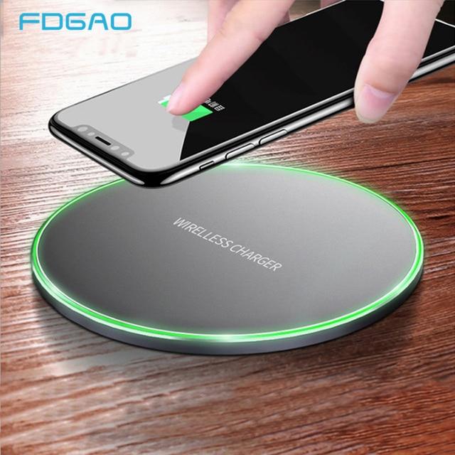 FDGAO Ци 10 W Быстрое беспроводное зарядное устройство для iPhone XS Max XR X 8 QC 3,0 быстрой зарядки для samsung S10 S9 S8 примечание 9 USB Зарядное устройство Pad