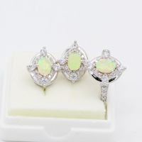 Verbazingwekkende groothandel party geschenken geel fire opal 925 sterling zilver stempel ring & oorbellen sieraden
