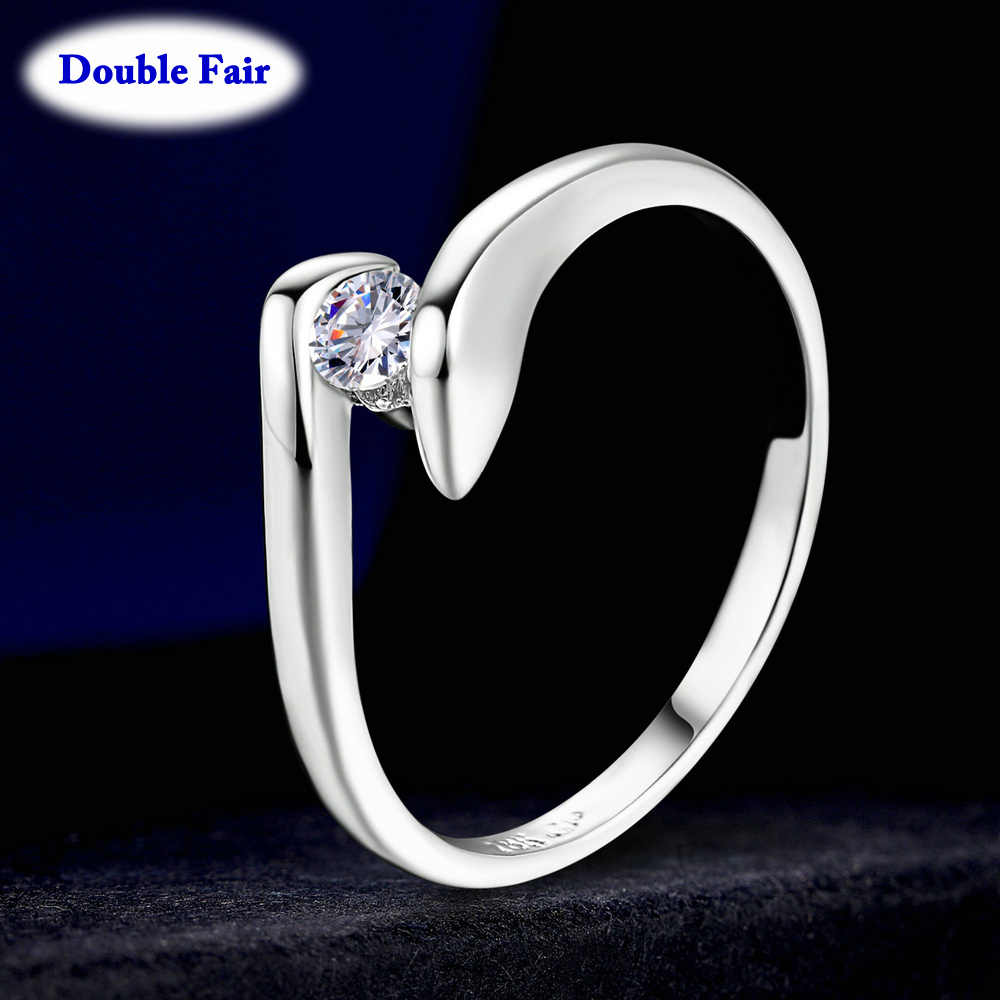 Aaa Cubic Zirconia Engagement Wedding Ring Rose Gold Color Silver