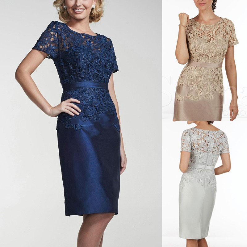 New Design 2017 Elegant Lace and Stain Mother of the Bride Dresses Short Sleeves Knee Length Brides Mothers Dresses For Wedding