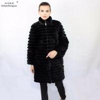Linhaoshengyue Real mink fur long grey blue black 90cm mink fur coat freeshipping 2:2.2