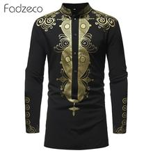 Mens Hipster African Print Dashiki Dress Shirt Blouse Tops Tribal Ethnic Shirt Men Long Sleeve Shirts Africa Clothes Camisa