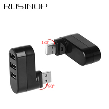 Rosinop High Speed 270 Degree Rotatable Multi USB Hub 2.0 3 Ports Splitter mini hab For Notebook Computer PC Accessories