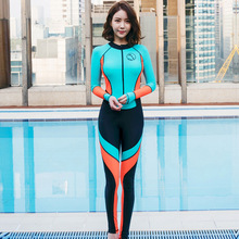 3d8f4bf790224 Summer Full Body Wetsuits Women One Piece Swimsuit Long Covered Zipper Rash  Guards Diving Surfing Clothing