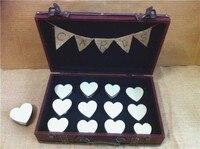Деревенская коробка для приглашения на свадьбу с брезентовые флажки, персонализированные, свадебные украшения коробка сувениры