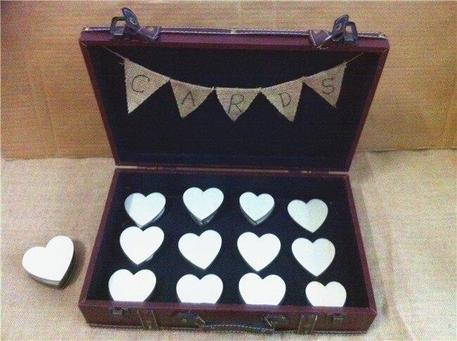 Деревенский свадебная открытка коробка с мешковины баннер, персонализированные, свадебные украшения окна сувениры