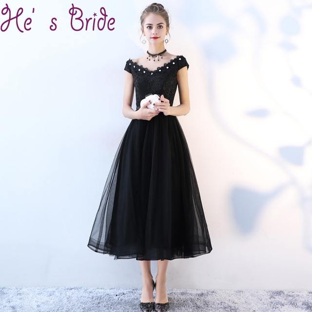 e6ba1d637dcf Evening Dress Elegant Black V Neck Short Sleeves Lace Up Back A Line Ankle  Length Tulle Lace Crystal Party Simple Prom Dress