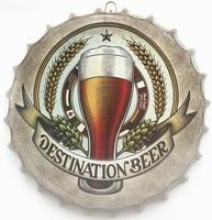 35 cm Round DESTINATION BEER Bottle cap Vintage Tin Sign Bar pub home Wall Decor Retro Metal Art Poster