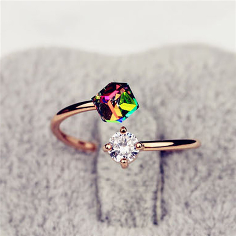 New Fashion Adjustable Open Rings Rainbow Color Zircon Stones Ring For Women Wedding Jewelry Accessories Gift