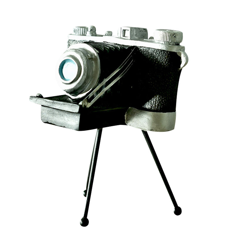 American Retro Tripod Camera Model Figurine Craft Shop Window Display Furnishing Photography Prop Memorial Collection Home Decor
