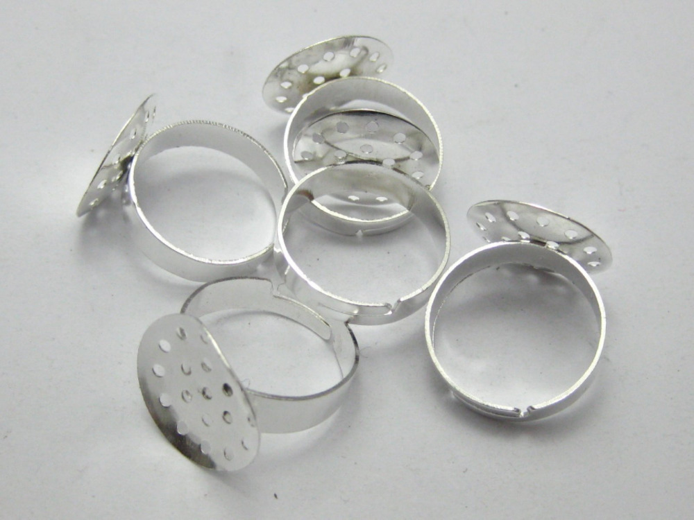 50 Silver Plated Adjustable Ring Blank Findings on Base 16mm Mesh Sieve Pad