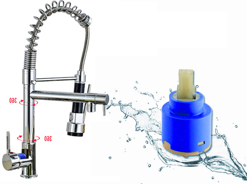 Chrome Spring Pull Down Kitchen Faucet Dual Spouts 360 Swivel Handheld Shower Kitchen Mixer Crane Hot Cold 2 Outlet Spring Taps 8